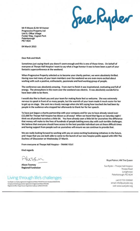 Sue Ryder Letter